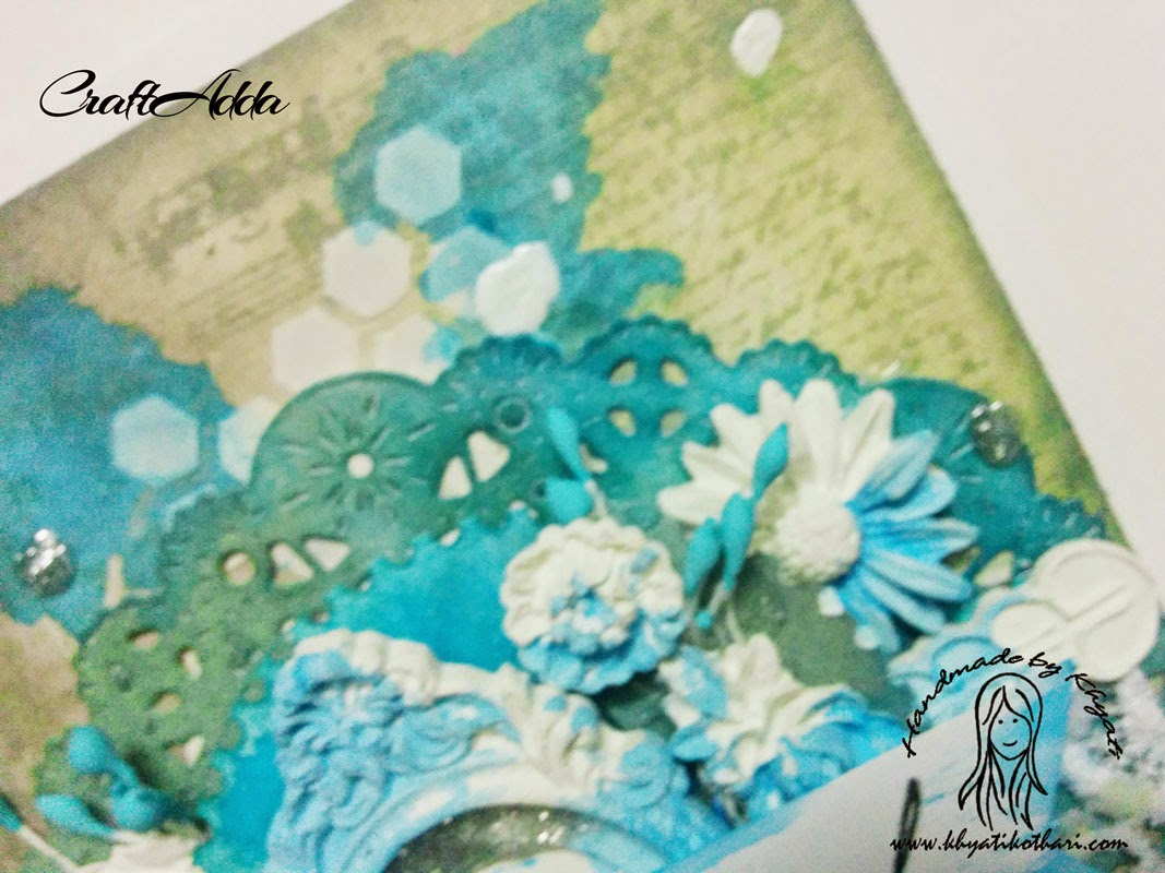 Another mixed media card with lots of layers 4