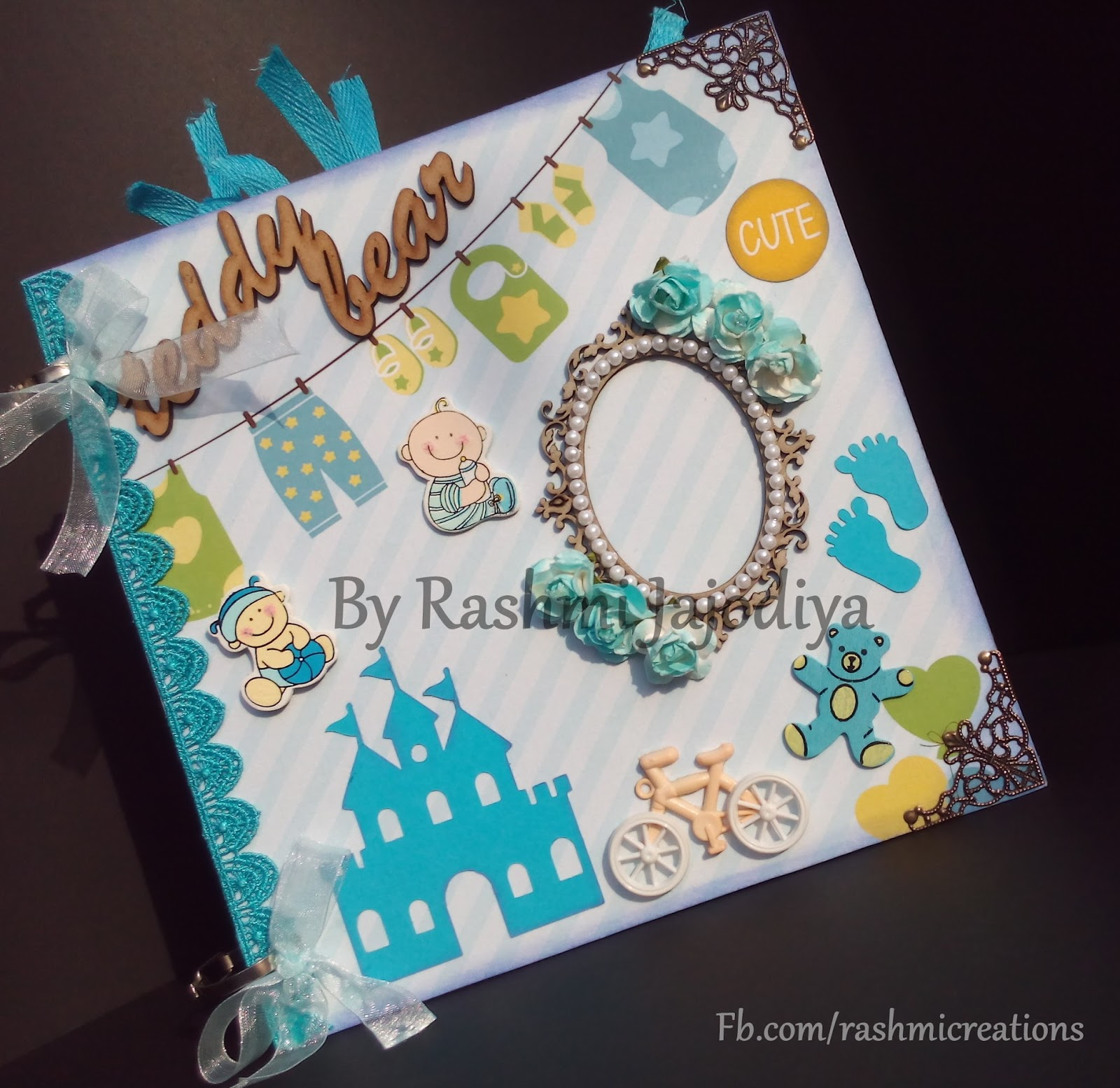 1st Year Record Book using CrafTangles Baby Boy paper collection 1