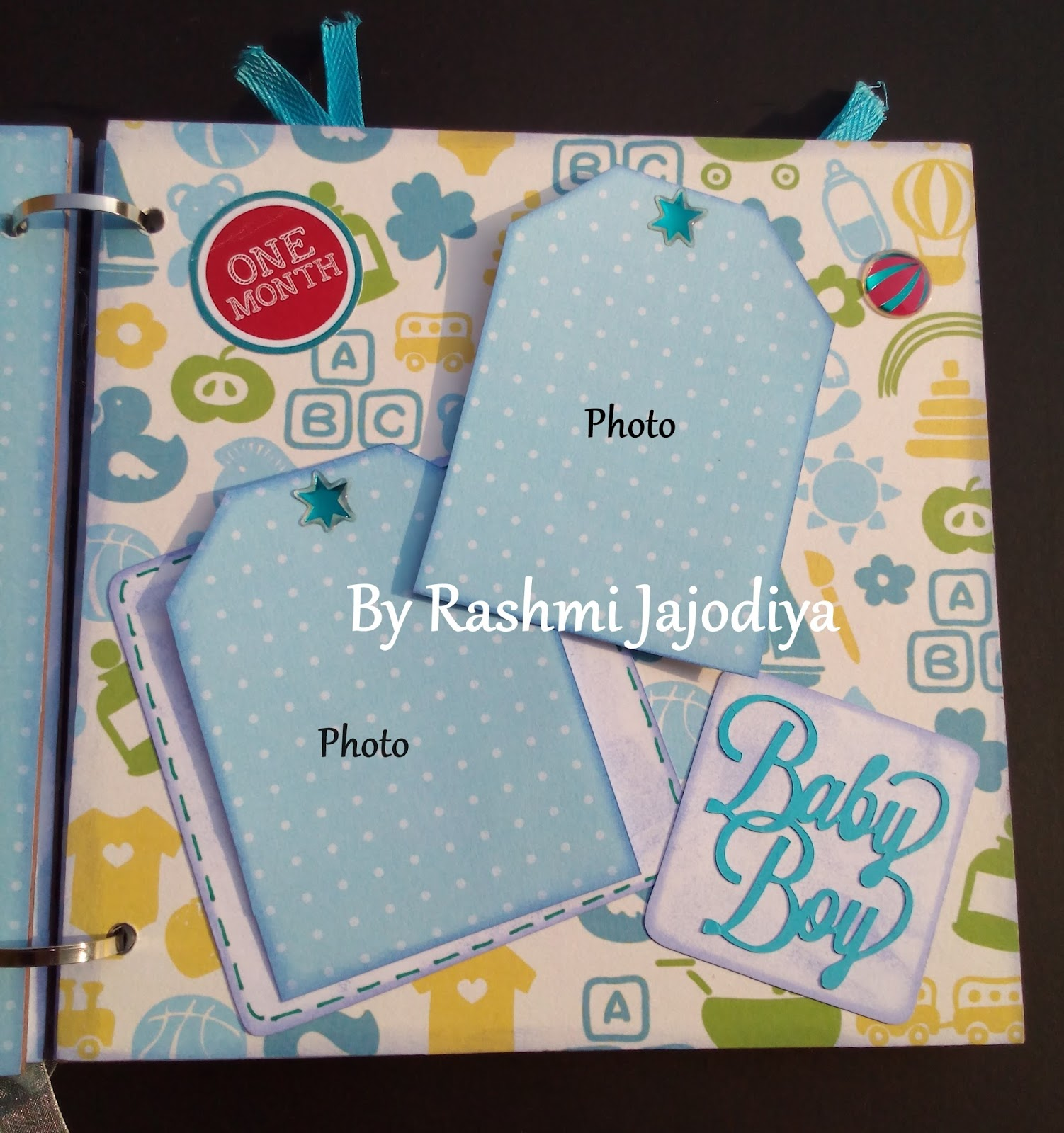 1st Year Record Book using CrafTangles Baby Boy paper collection 8