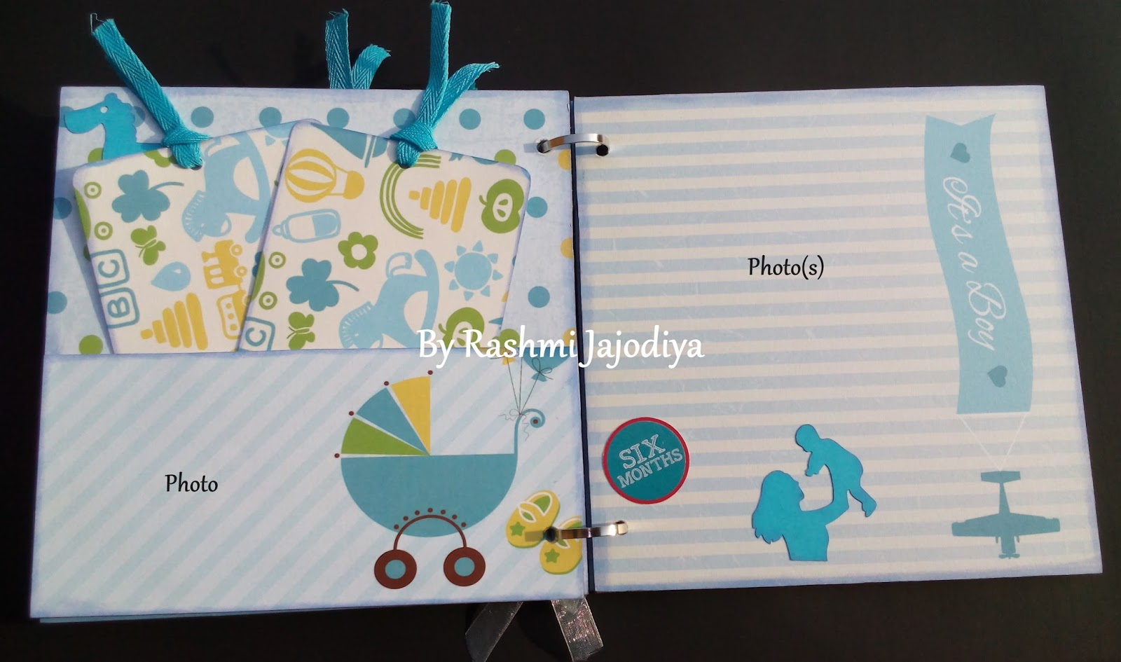 1st Year Record Book using CrafTangles Baby Boy paper collection 7