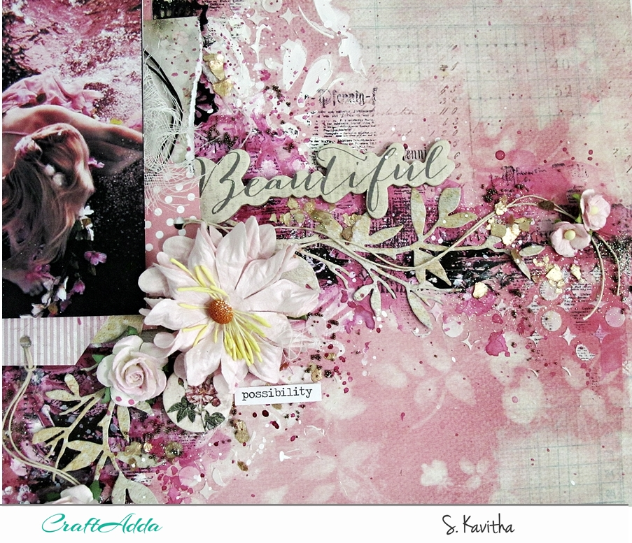 Mixed media layout using Felicity collection 3