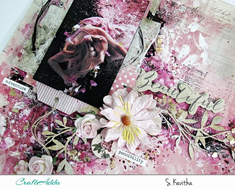 Mixed media layout using Felicity collection 4
