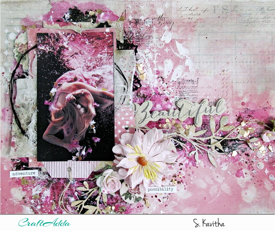 Mixed media layout using Felicity collection 5