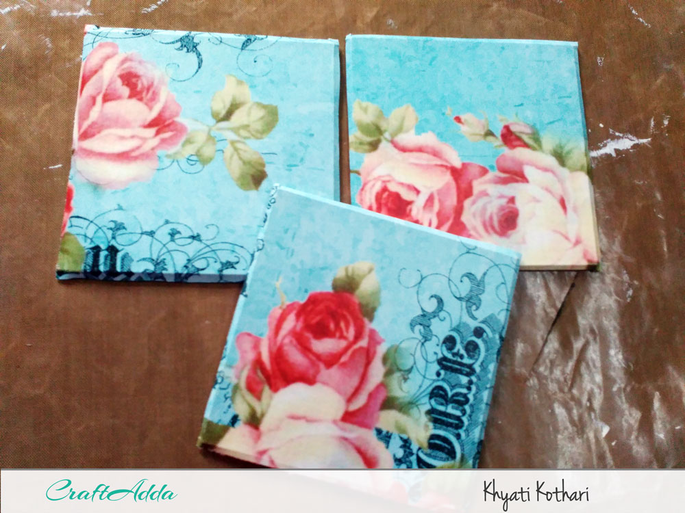 First try at decoupage with some tea coasters with pictorial tutorial 3