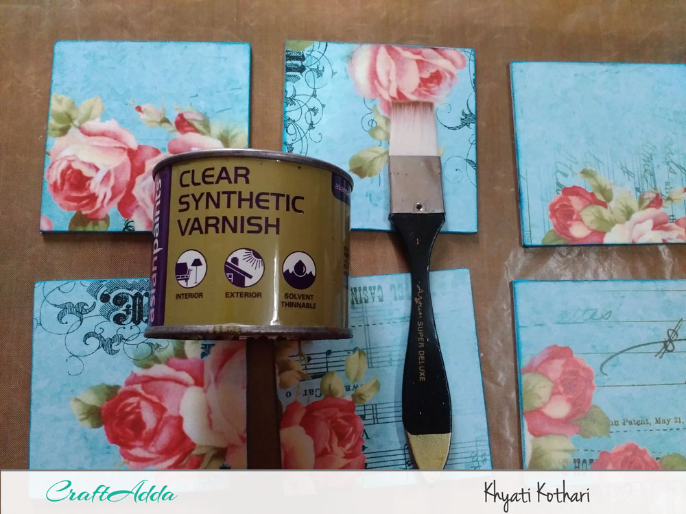 First try at decoupage with some tea coasters with pictorial tutorial 5