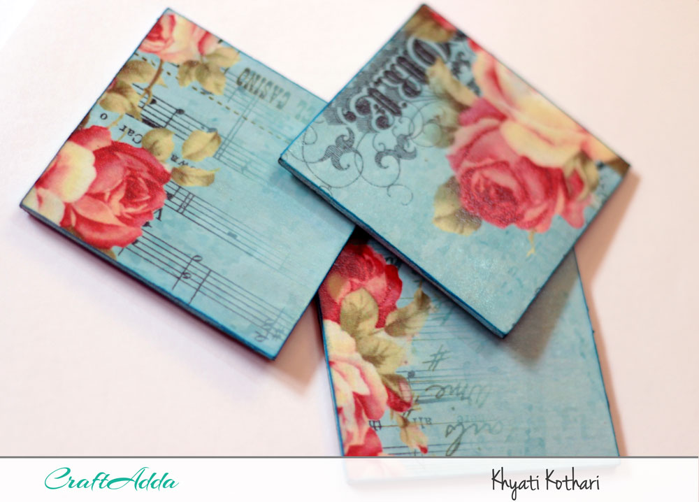 First try at decoupage with some tea coasters with pictorial tutorial 1