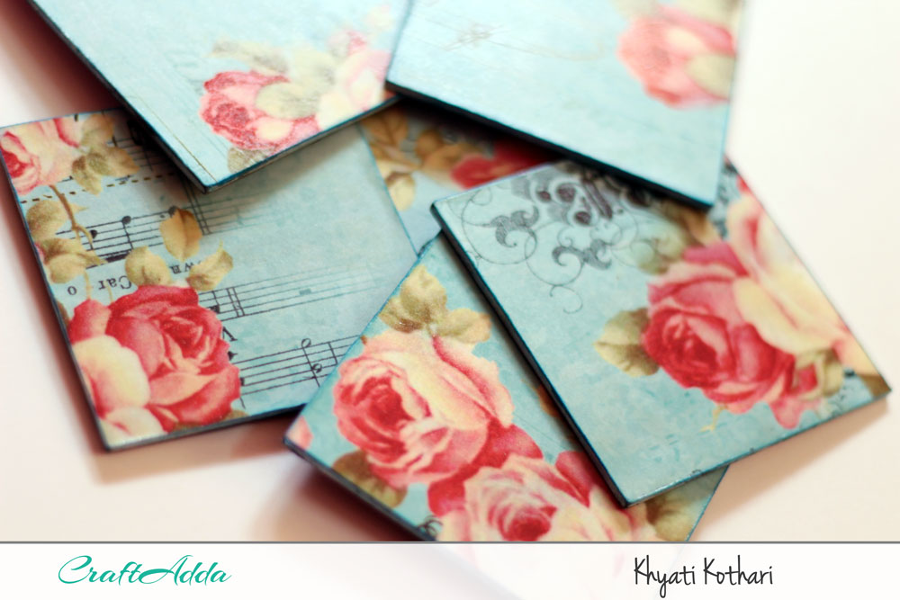 First try at decoupage with some tea coasters with pictorial tutorial 7