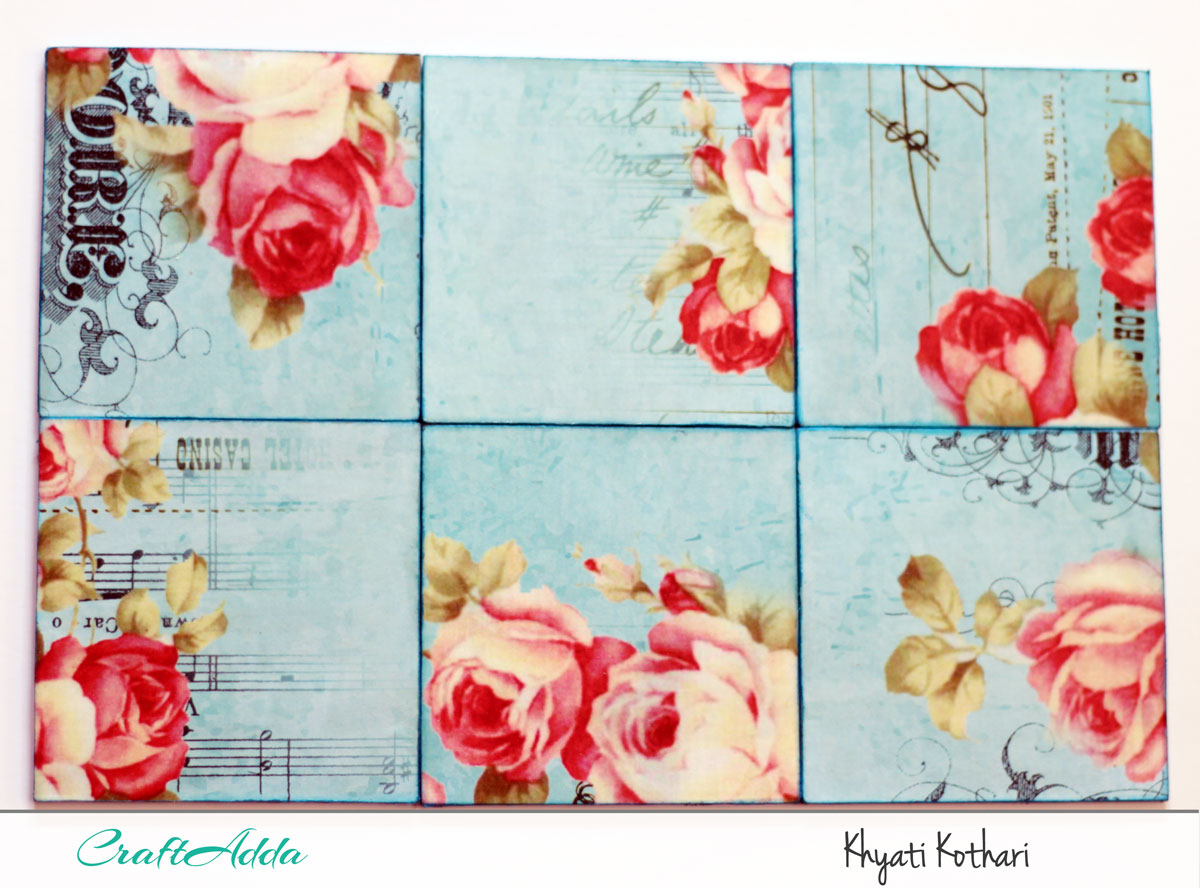 First try at decoupage with some tea coasters with pictorial tutorial 6
