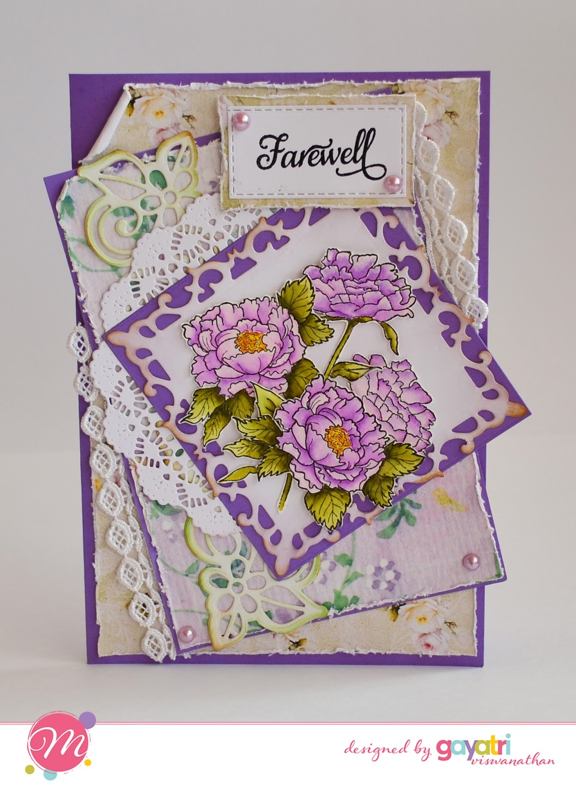 Farewell card using Mudra Craft Stamps [Guest Post by Gayatri] 1