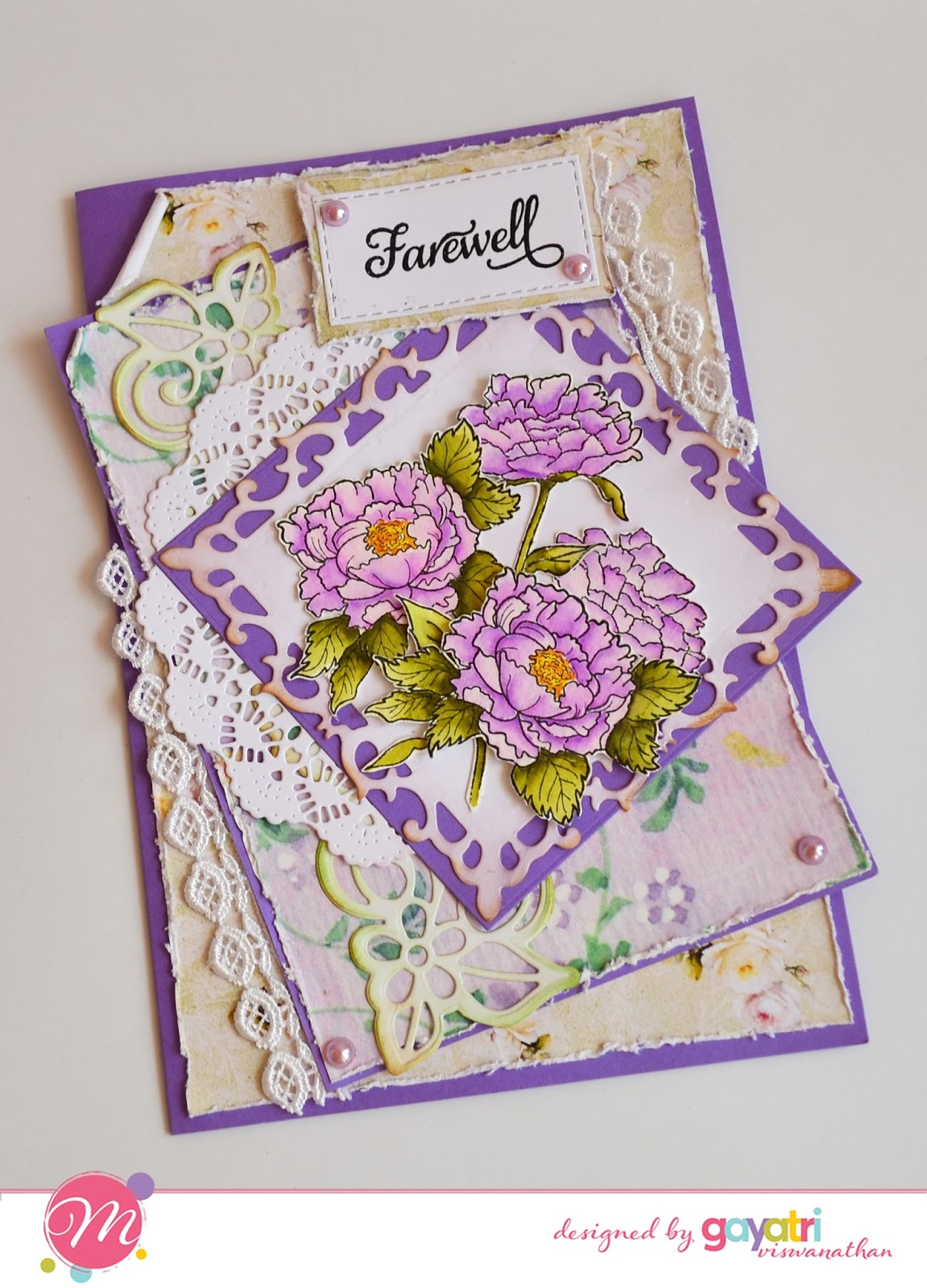 Farewell card using Mudra Craft Stamps [Guest Post by Gayatri] 3