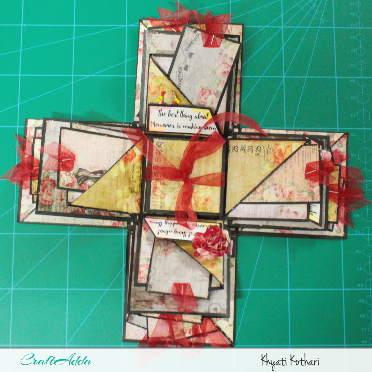 Explosion boxes made using Enchanted Blooms by CrafTangles (Video tutorial) 6