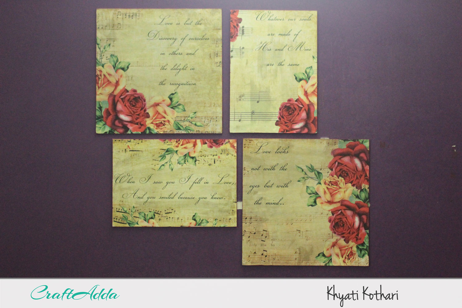 DIY wall decor using decoupage paper with video tutorial 2