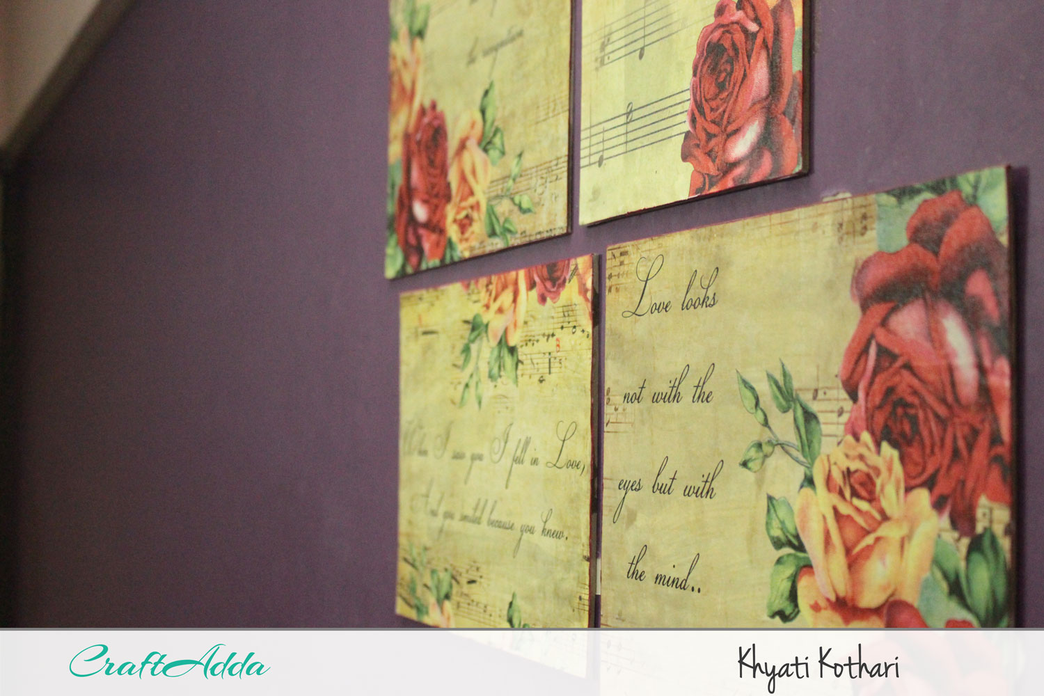 DIY wall decor using decoupage paper with video tutorial 3