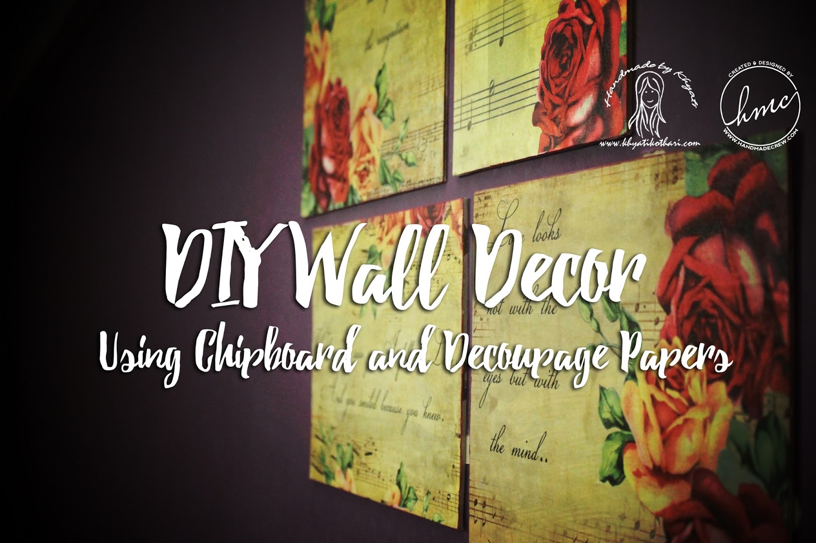 DIY wall decor using decoupage paper with video tutorial 1