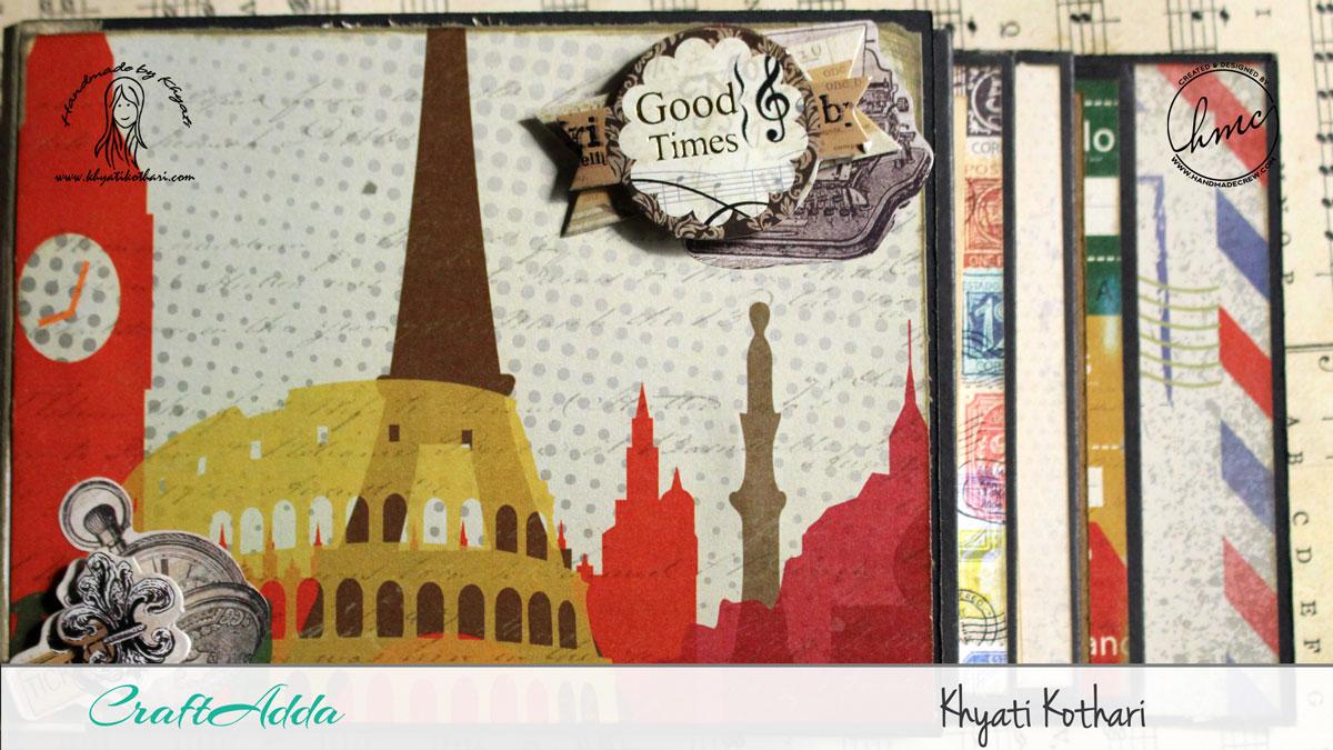 Good Times mini album using I travel the world paper pack 3