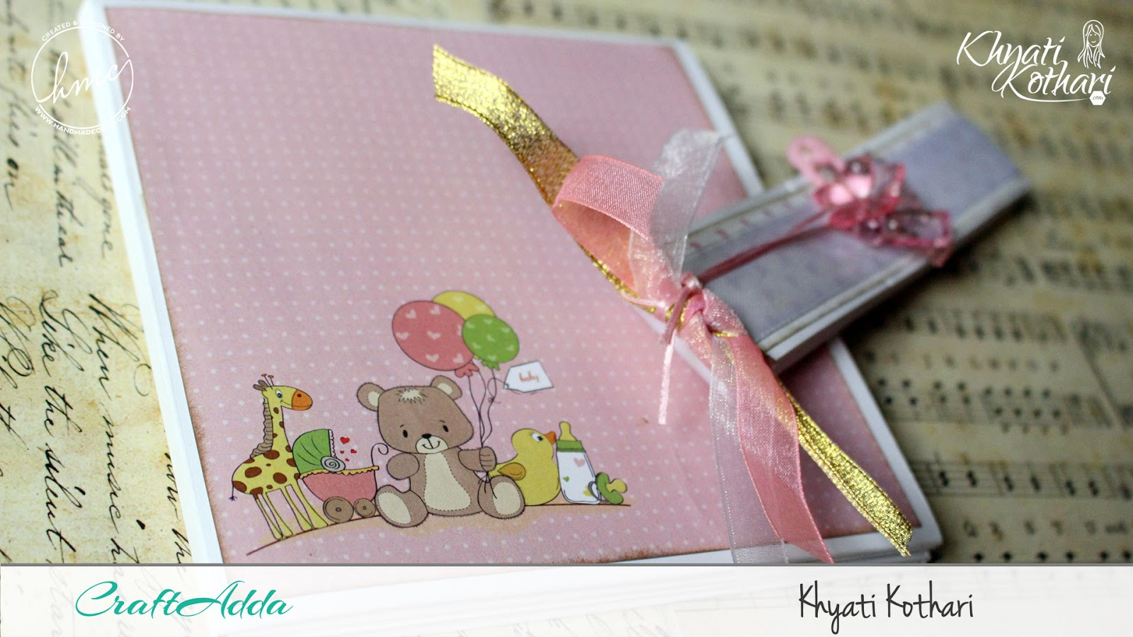 Foldable Mini Album using Baby Girl papers by CrafTangles 3