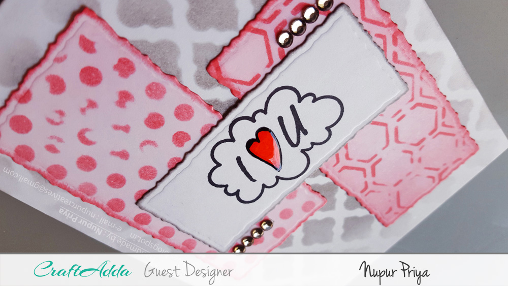 Love themed handmade cards using CrafTangles stamps and stencils by Nupur Priya 8