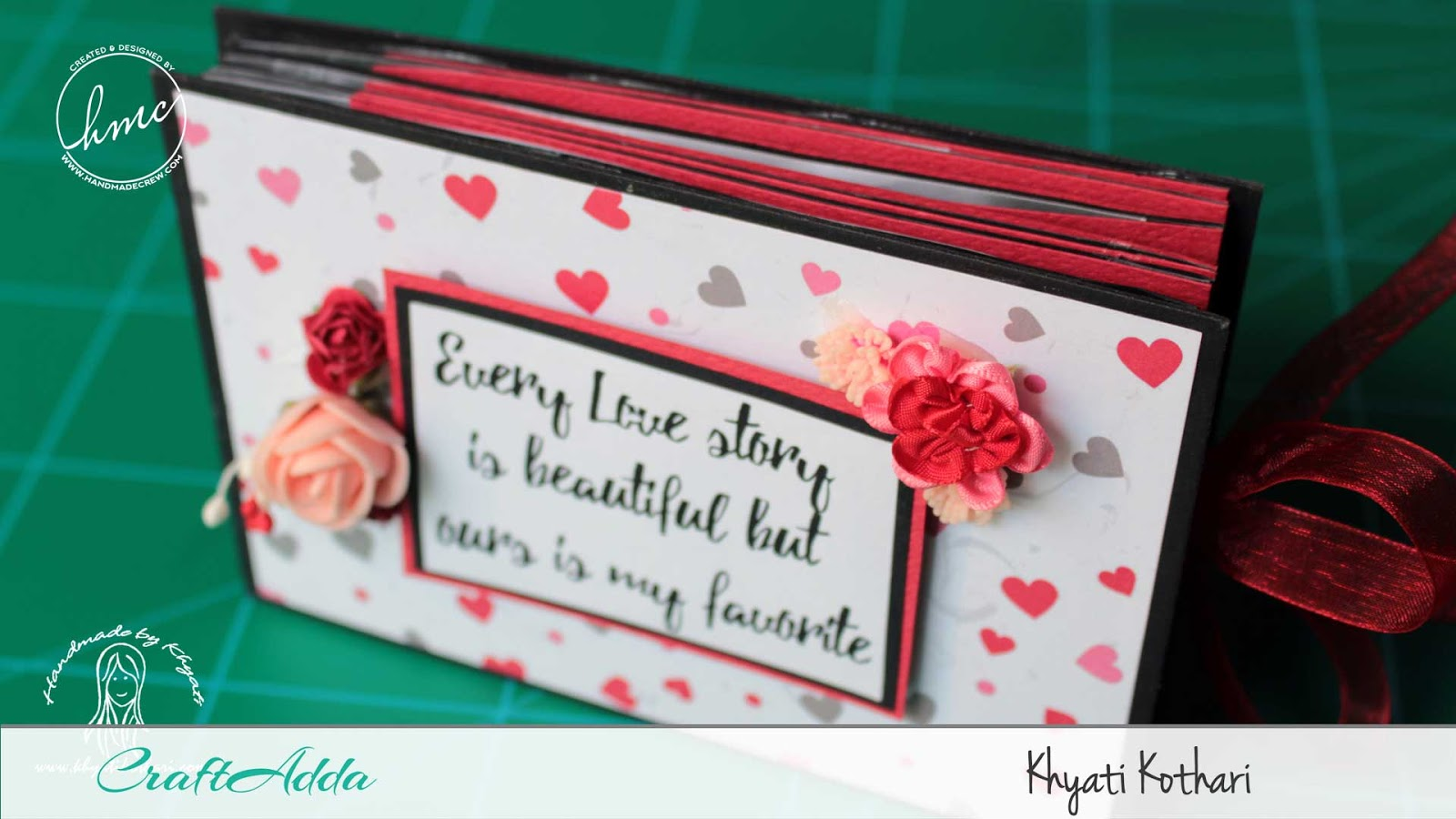Valentine themed star book mini album using All for Love paper pack by CrafTangles 2