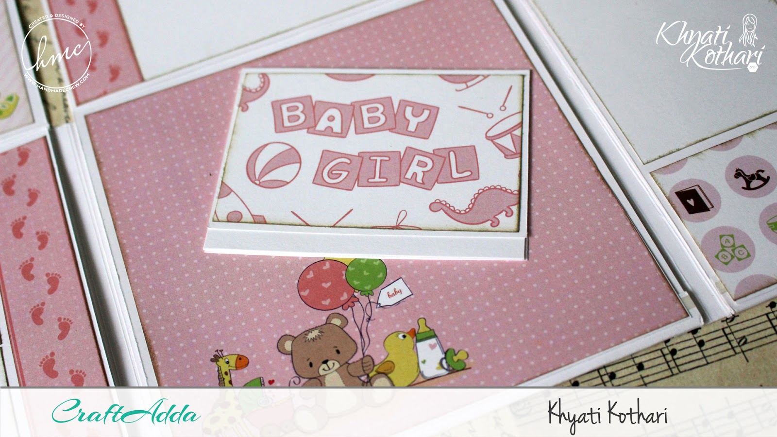 Foldable Mini Album using Baby Girl papers by CrafTangles 6