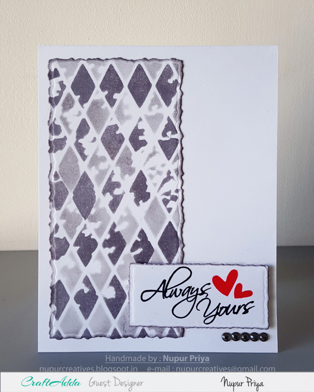 Love themed handmade cards using CrafTangles stamps and stencils by Nupur Priya 3