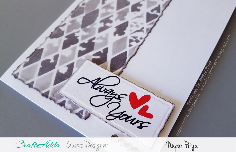 Love themed handmade cards using CrafTangles stamps and stencils by Nupur Priya 4