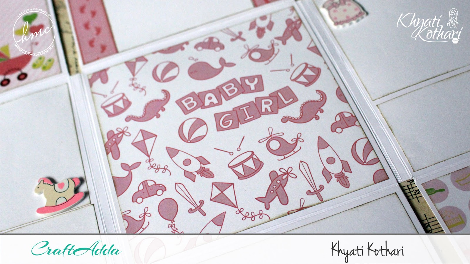 Foldable Mini Album using Baby Girl papers by CrafTangles 7