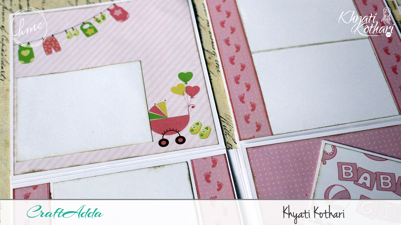 Foldable Mini Album using Baby Girl papers by CrafTangles 8