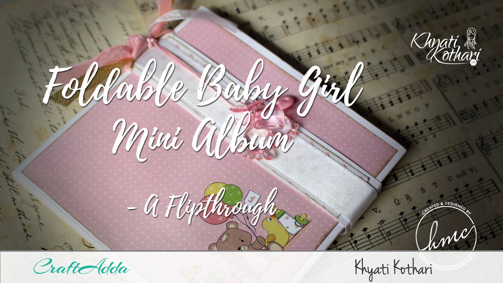 Foldable Mini Album using Baby Girl papers by CrafTangles 1