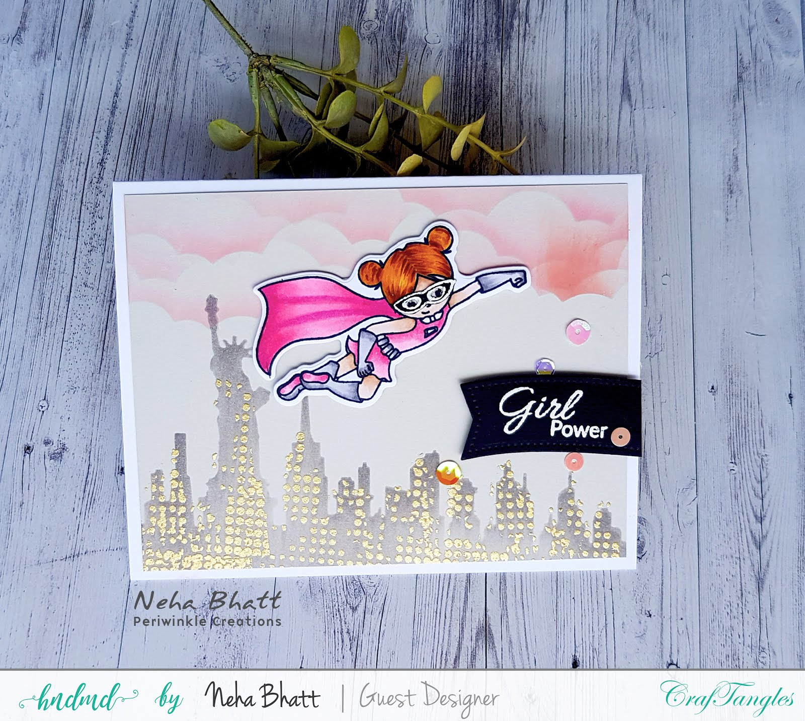 Gorgeous cards using supergirl stamp and dies (guest post by Neha Bhatt) 3
