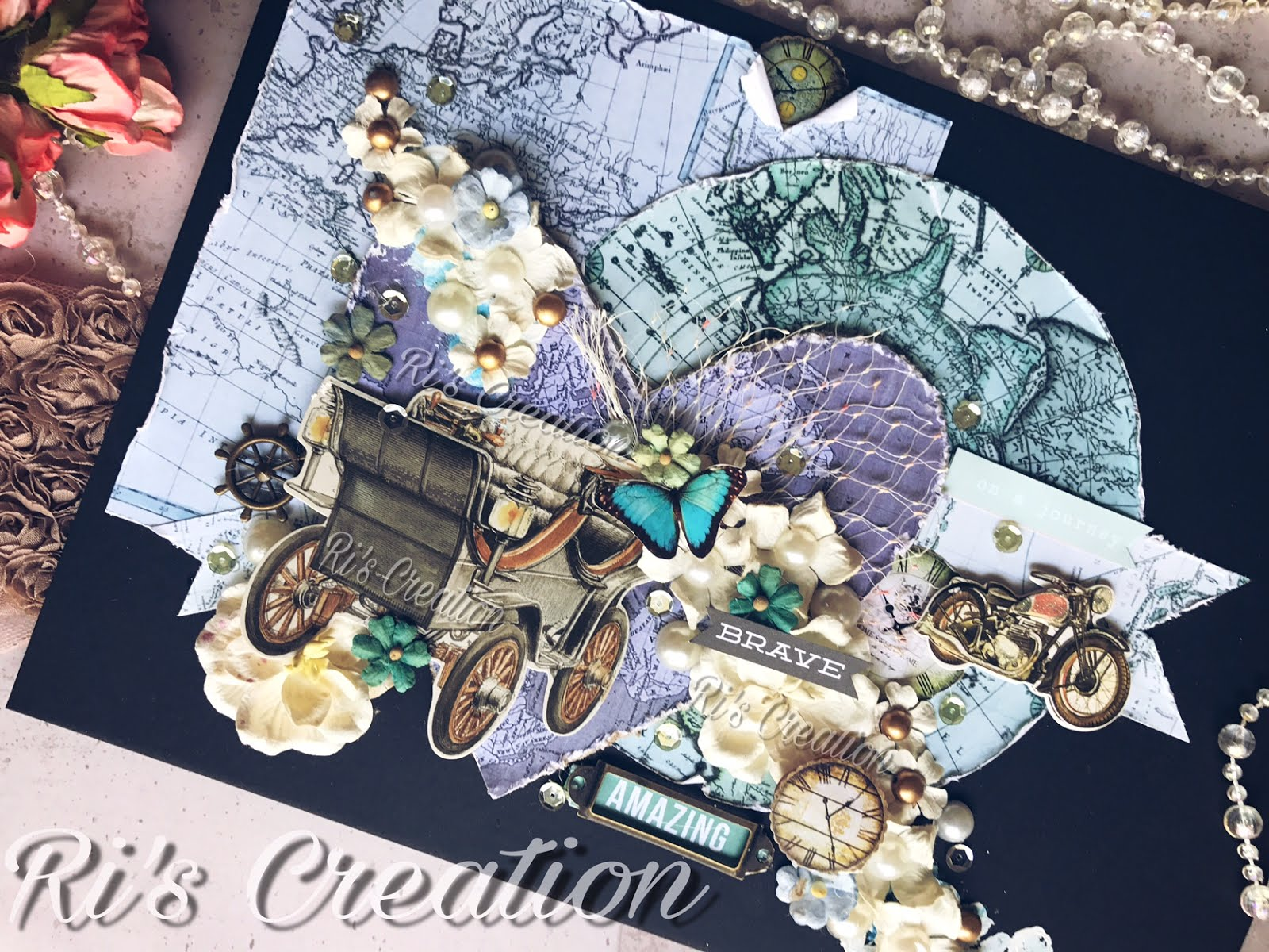 Layout using CrafTangles Vintage Maps by Riddhi Jani (Guest Post) 3