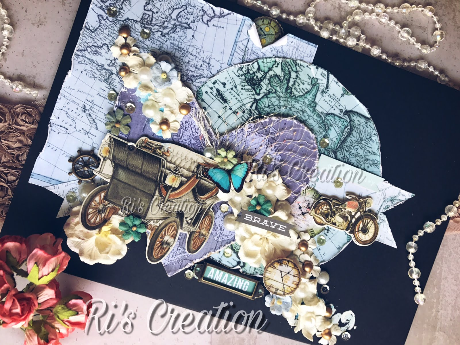 Layout using CrafTangles Vintage Maps by Riddhi Jani (Guest Post) 4