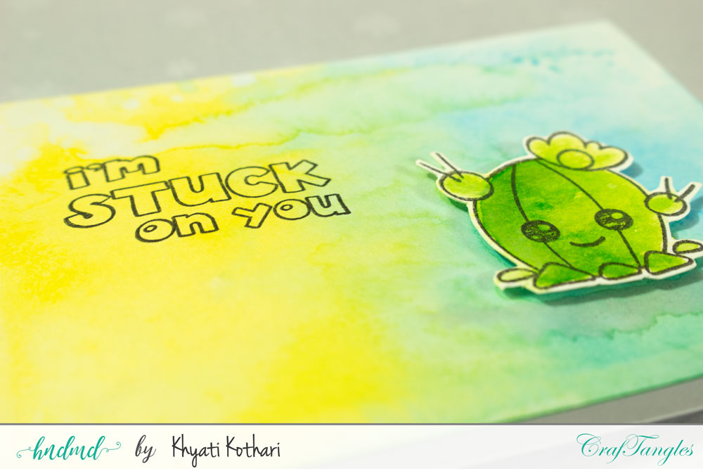 Quick watercolor cards using I am stuck on you stamp by CrafTangles 4