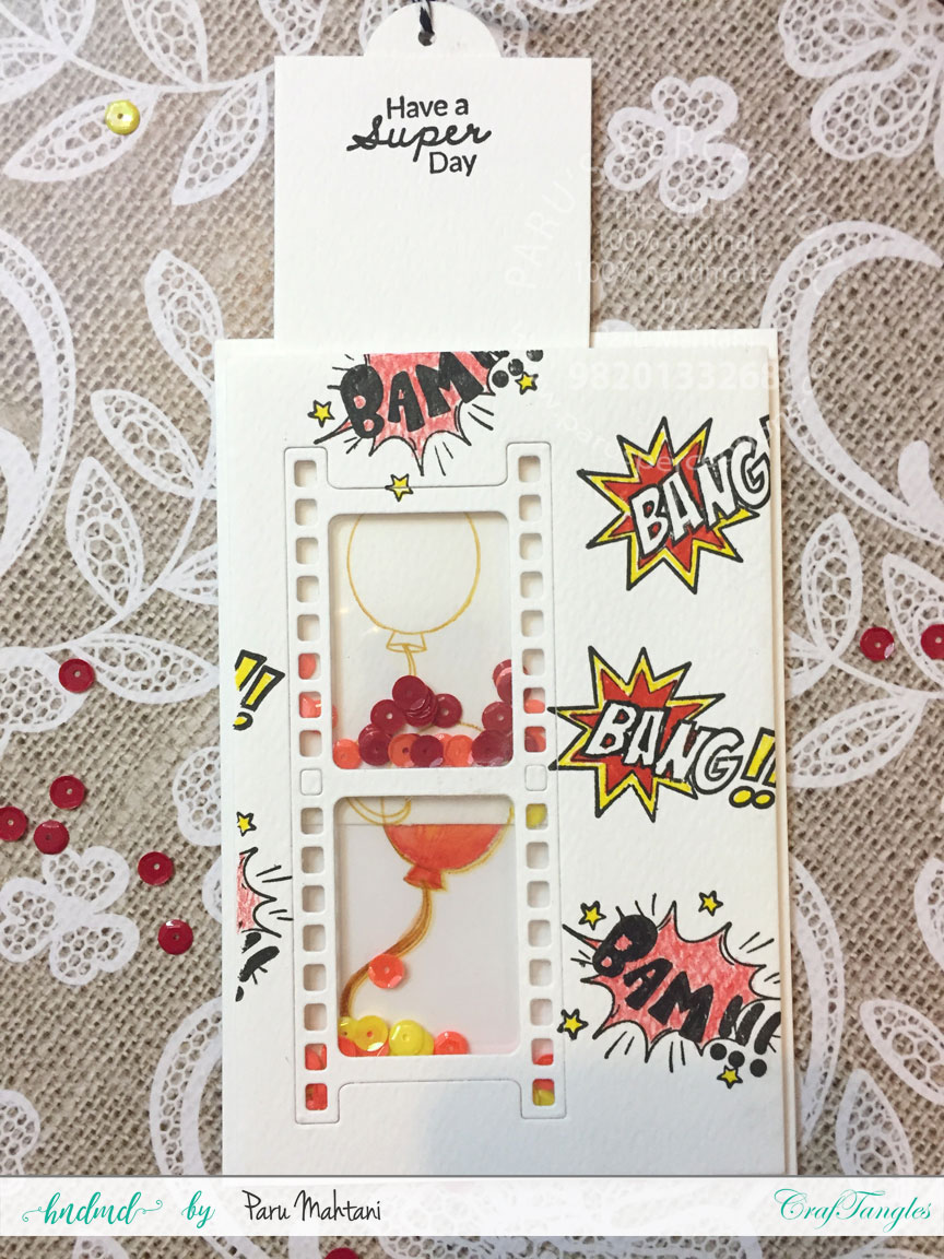 Interactive cards showcasing the Craftangles Superkids stamps and co-ordinating dies 7