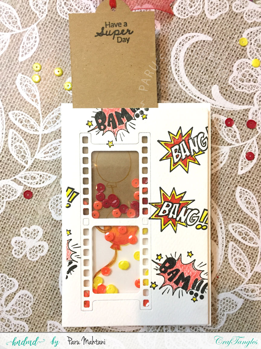 Interactive cards showcasing the Craftangles Superkids stamps and co-ordinating dies 11