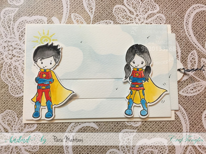 Interactive cards showcasing the Craftangles Superkids stamps and co-ordinating dies 4
