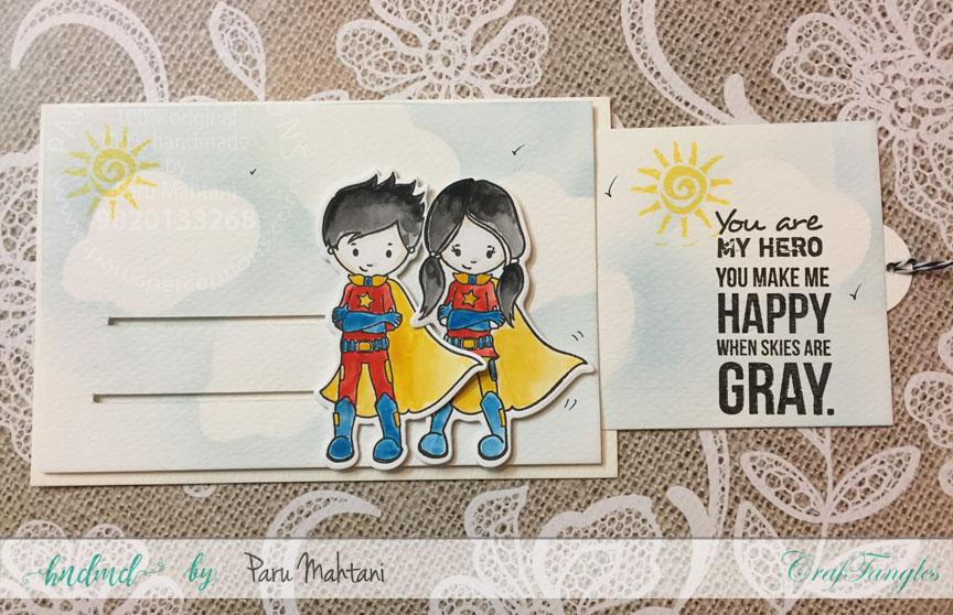 Interactive cards showcasing the Craftangles Superkids stamps and co-ordinating dies 5