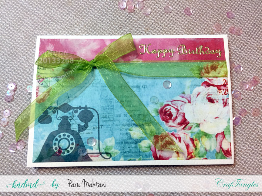 Birthday cards with Craftangles Enchanted Blooms paper 1