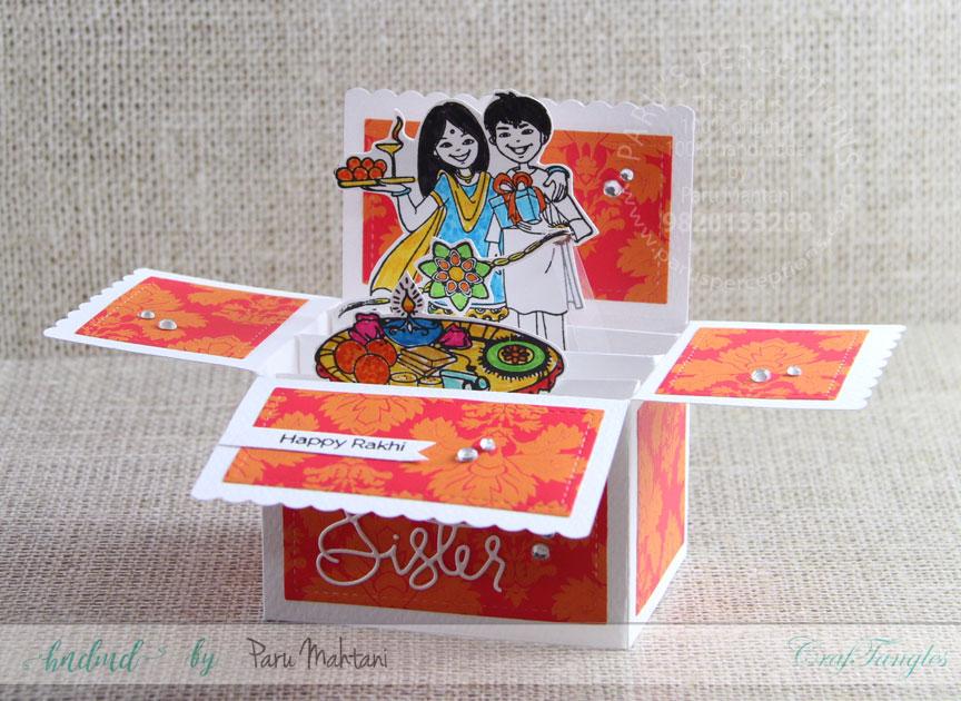 Box cards using Craftangles 'Rakshabandhan' stamps. 2