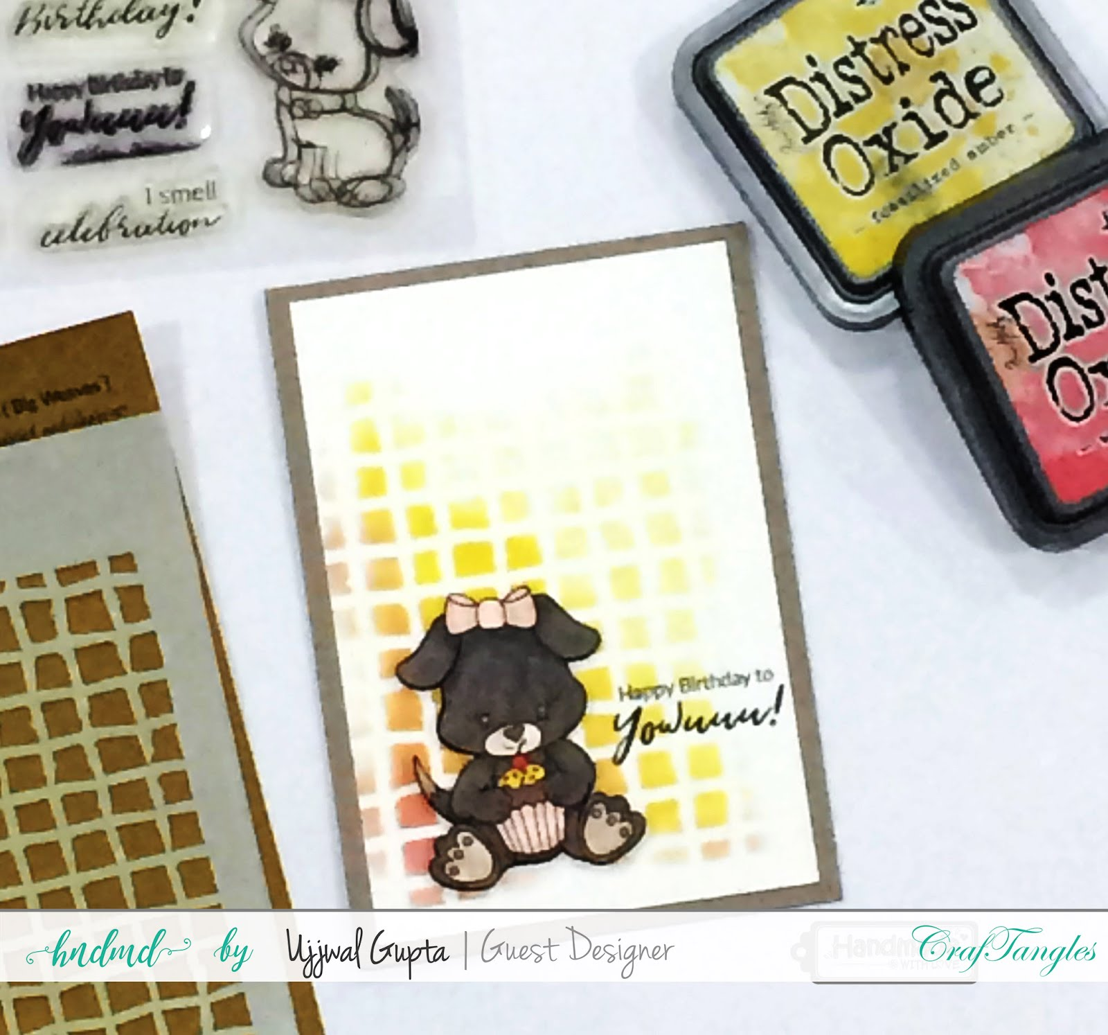 5 Cards using CrafTangles stamps and stencils 1