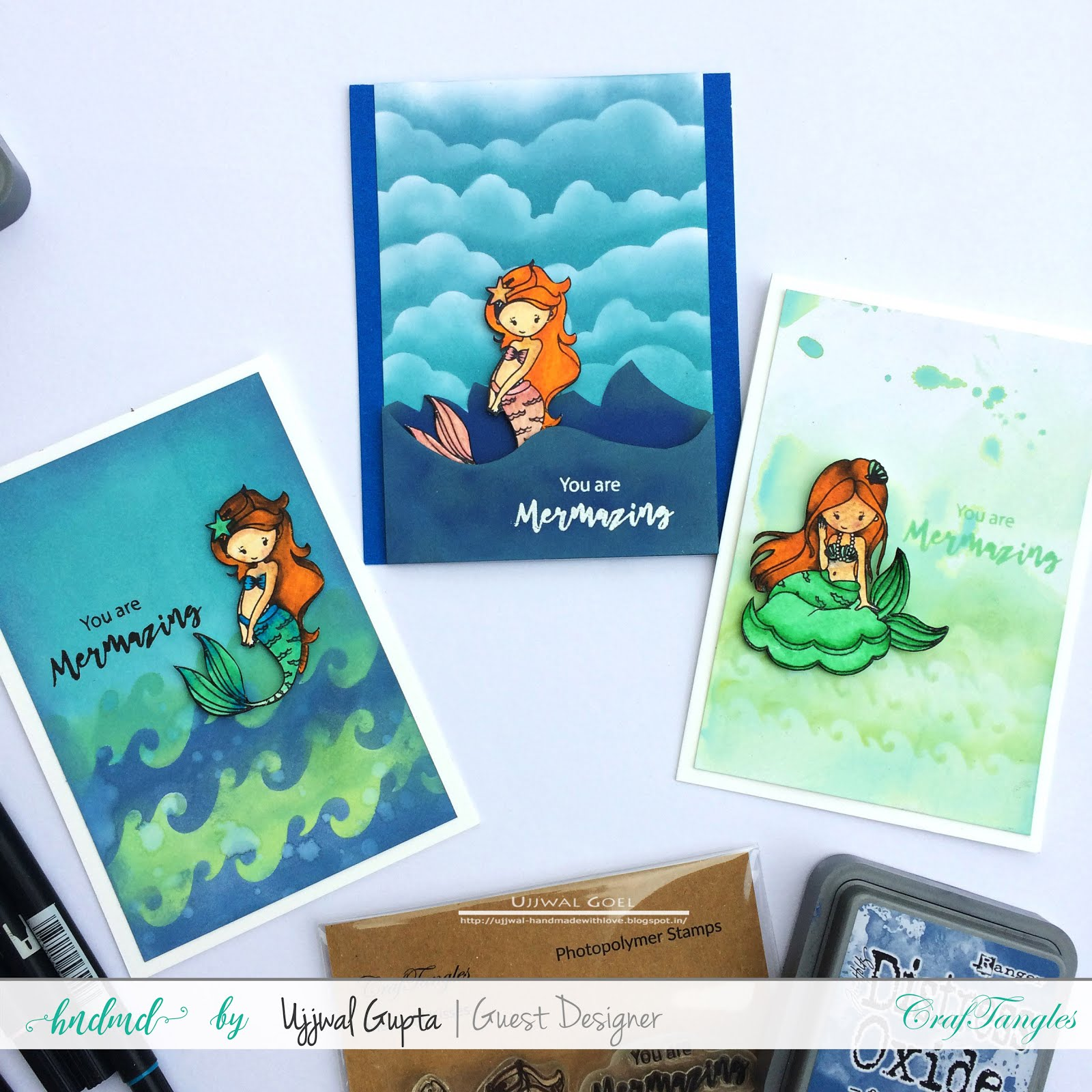 Mermaid cards with distress oxides and craftangles stencils 1