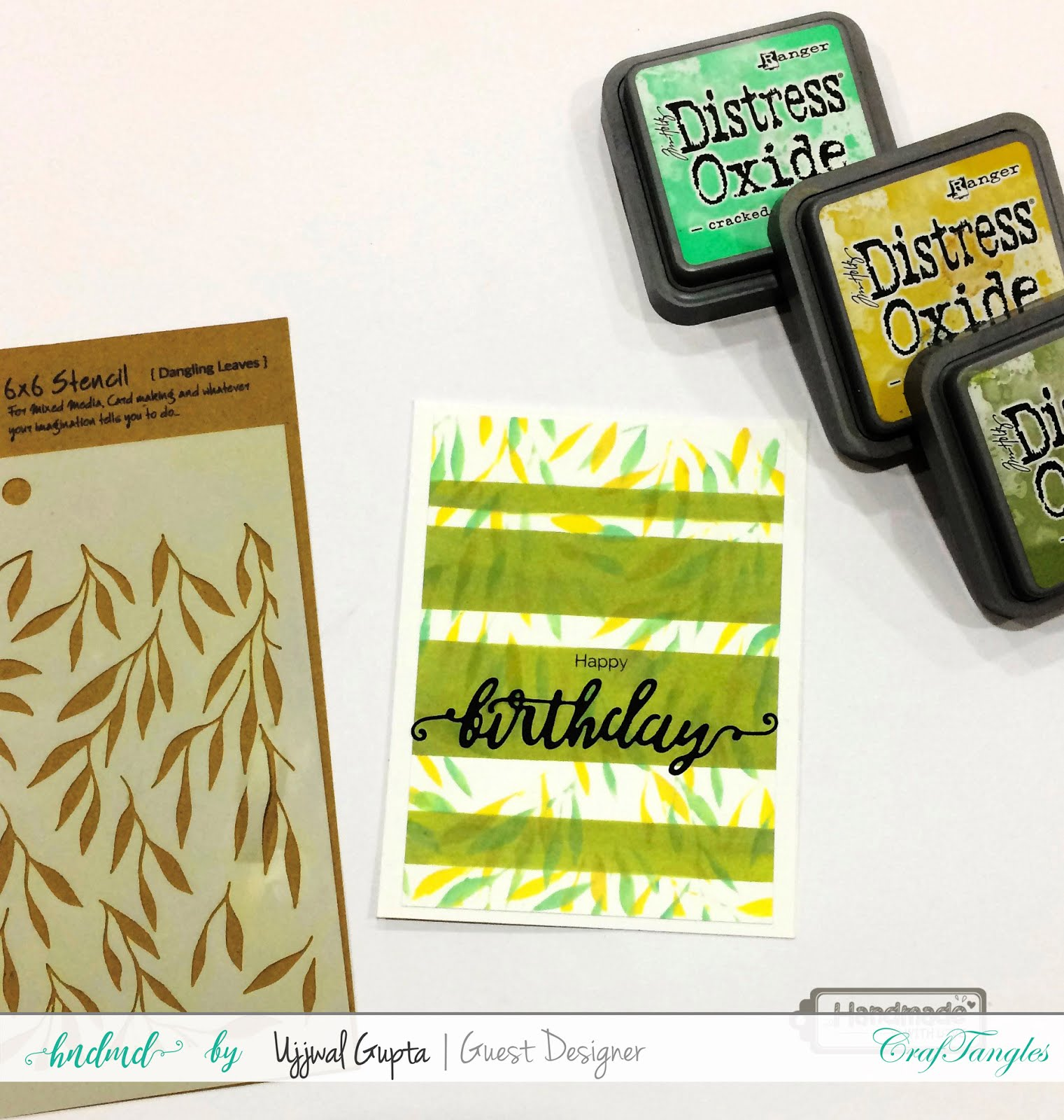 5 Cards using CrafTangles stamps and stencils 3