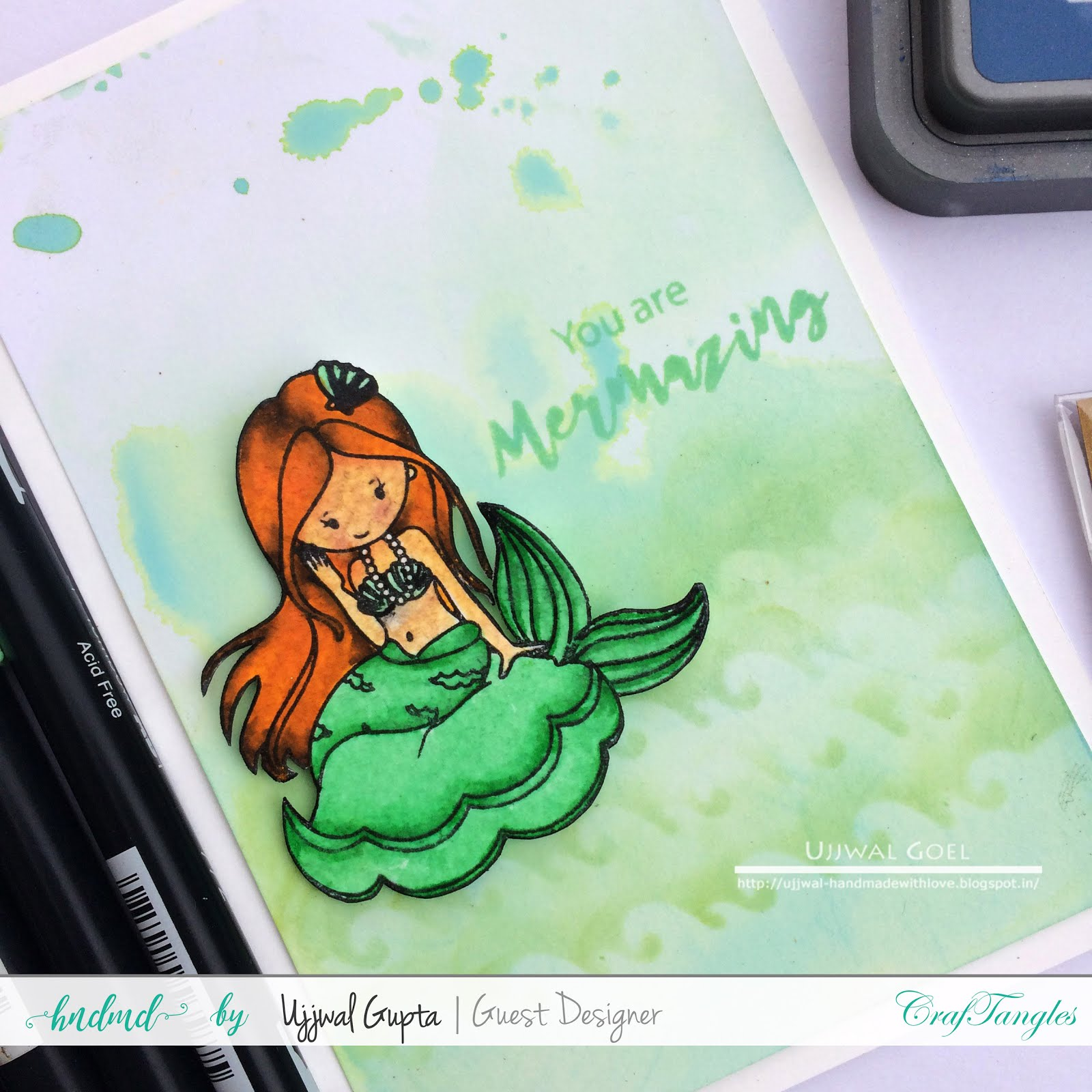 Mermaid cards with distress oxides and craftangles stencils 7
