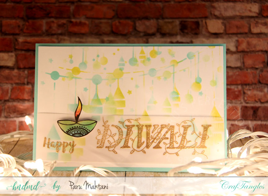 Playing with Craftangles Diwali stamps and stencils 1