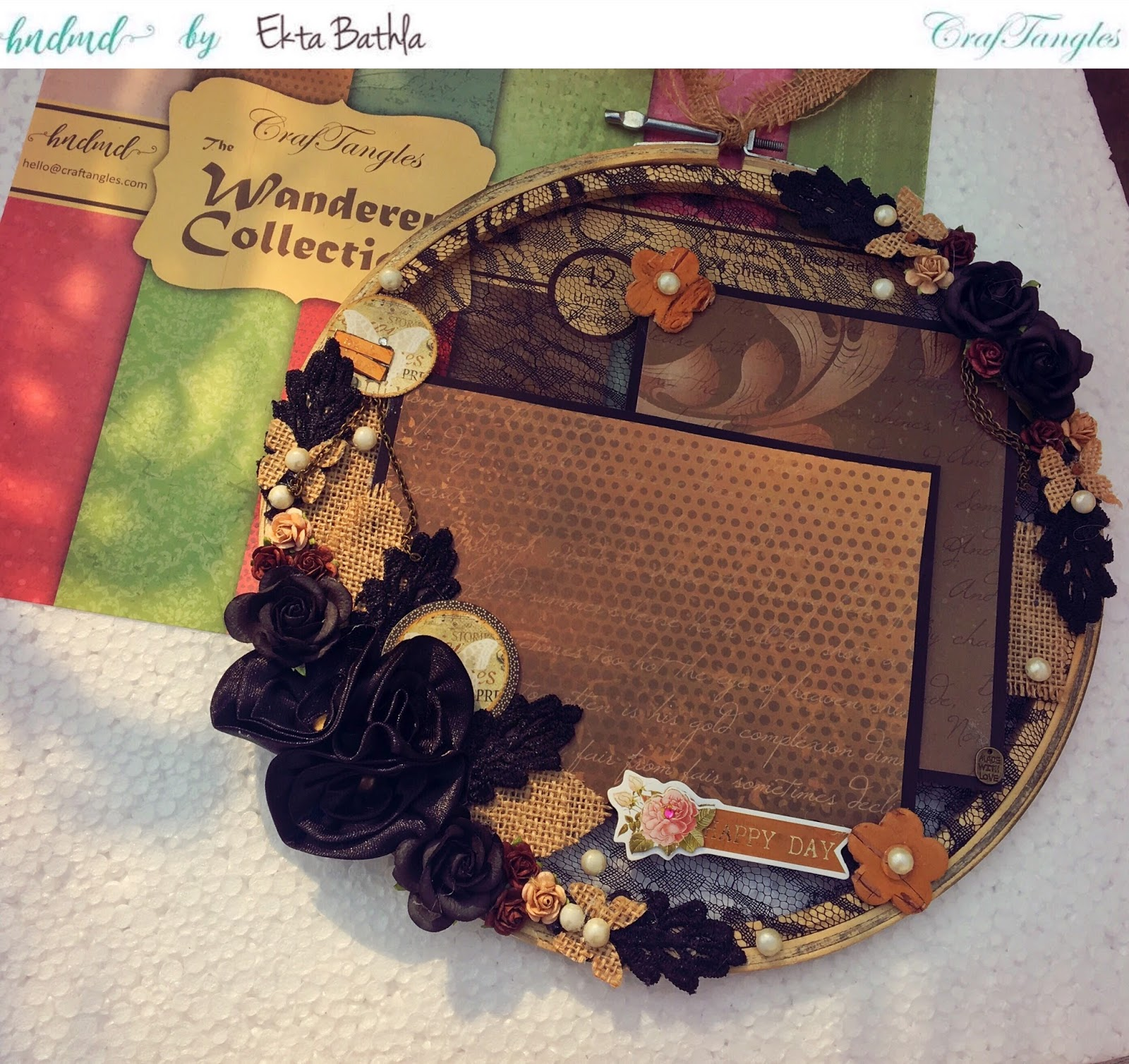 Altered Embroidery Hoop using Wanderer Collection by CrafTangles 4