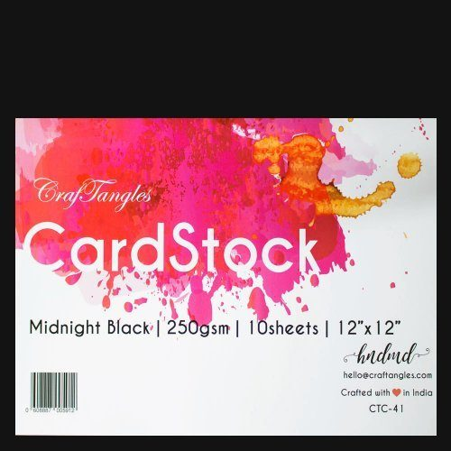 """CrafTangles cardstock 12"""" by 12"""" (250 gsm) (Set of 10 sheets) - Midnight Black"""
