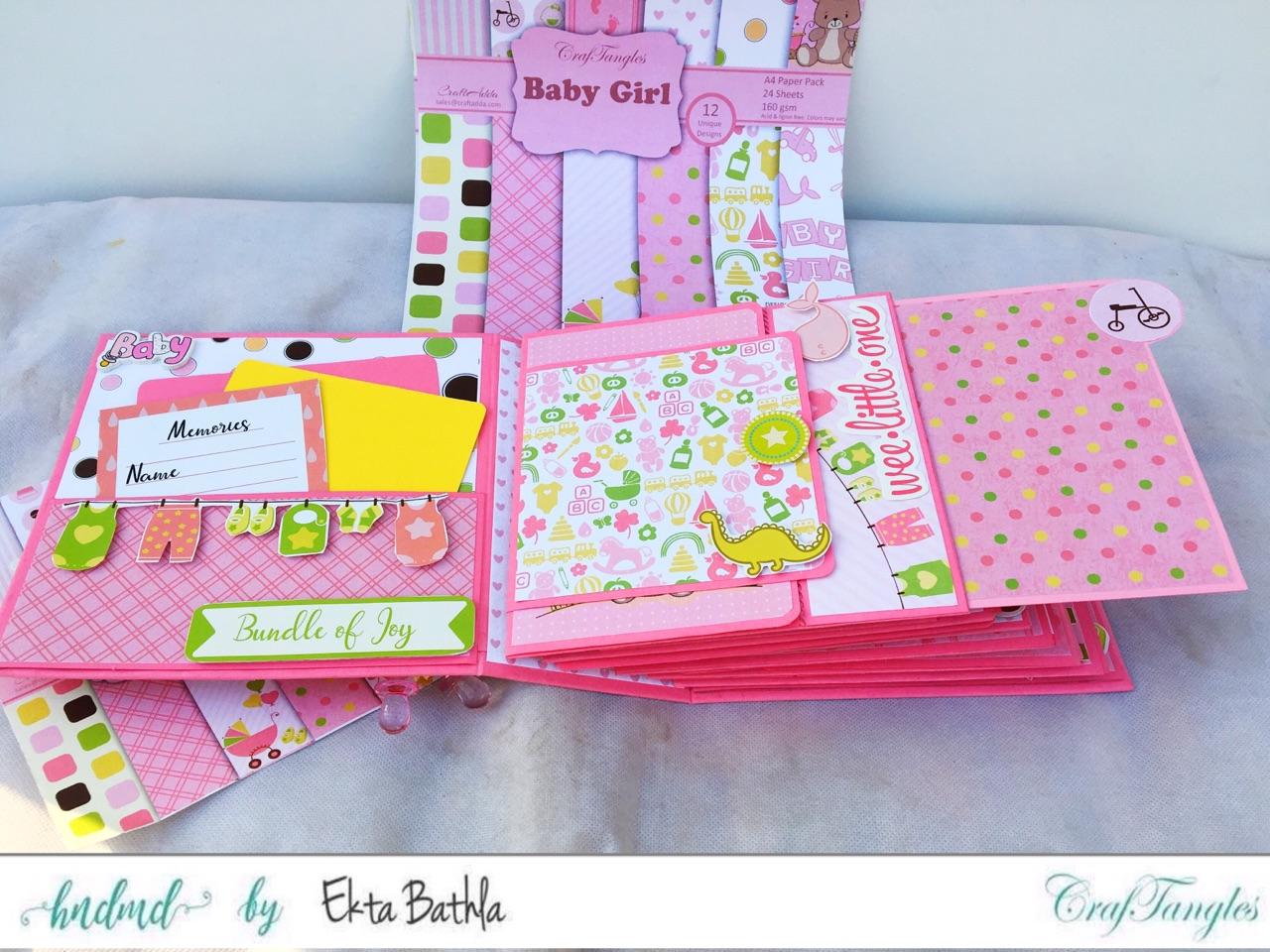 Baby Girl mini album showcasing Baby Girl Elements Pack by CrafTangles 11