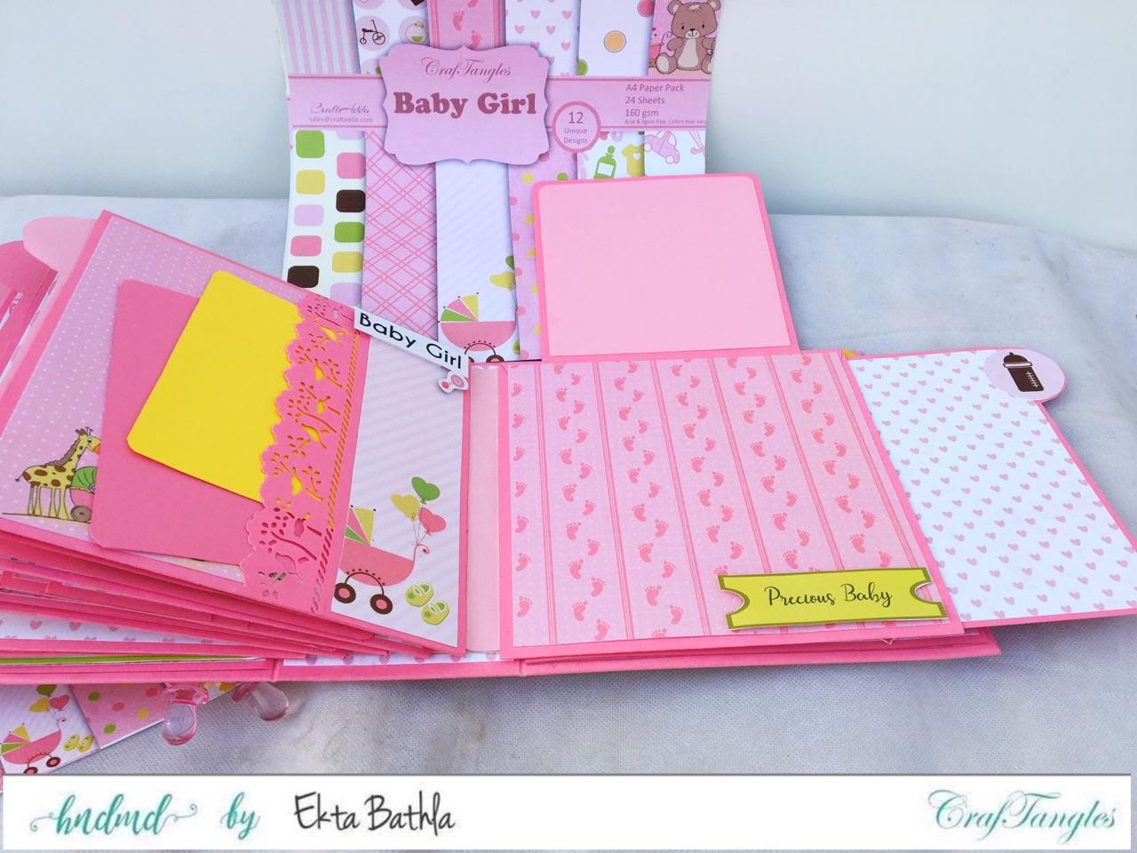 Baby Girl mini album showcasing Baby Girl Elements Pack by CrafTangles 12