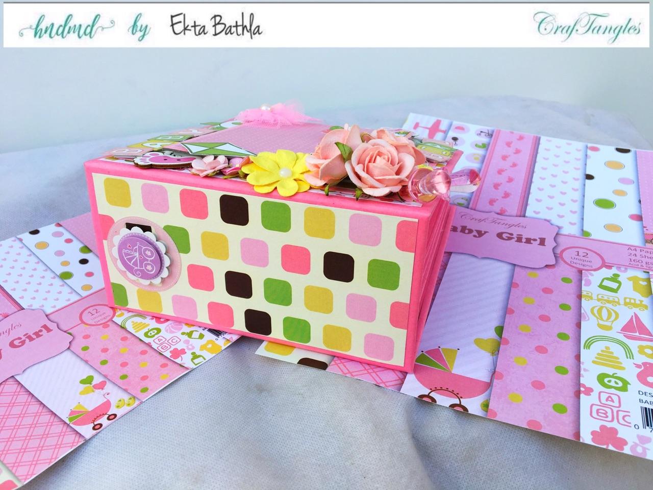 Baby Girl mini album showcasing Baby Girl Elements Pack by CrafTangles 13