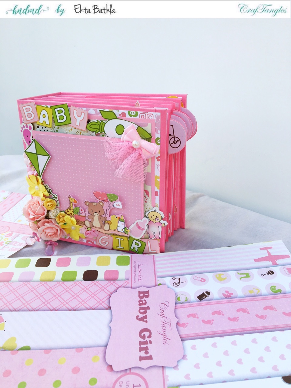 Baby Girl mini album showcasing Baby Girl Elements Pack by CrafTangles 15