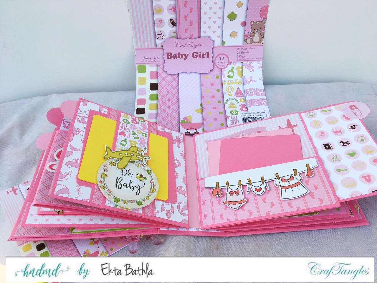 Baby Girl mini album showcasing Baby Girl Elements Pack by CrafTangles 3